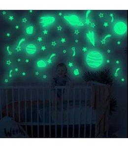 Muursticker glow in the dark raketten en planeten