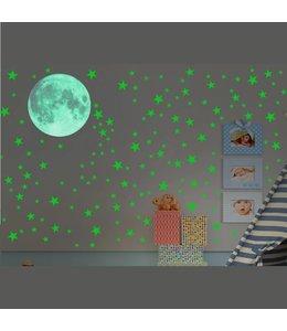 Muursticker glow in the dark maan en sterren XXL