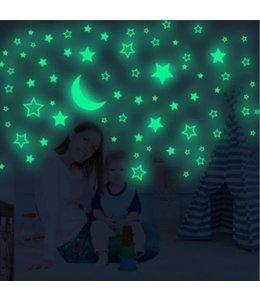 muursticker glow in the dark sterren met maan