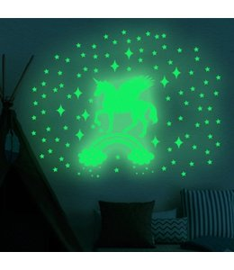 Muursticker glow in the dark eenhoorn met regenboog en sterren