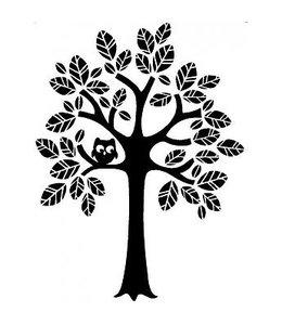 Muursticker boom met uiltje