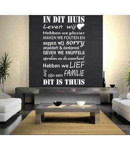 Muursticker Huisregels - In dit huis leven wij, hebben we plezier