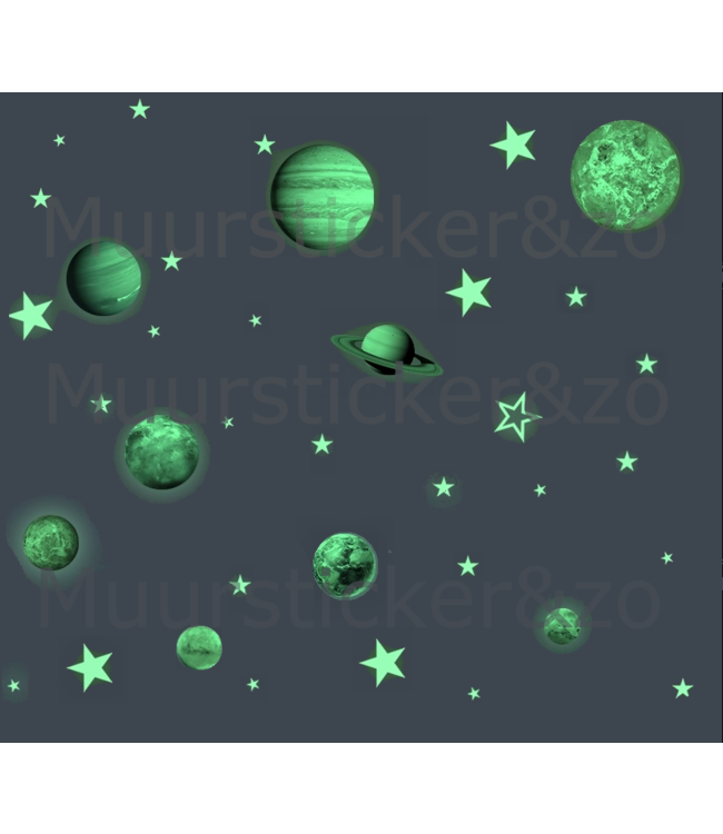 Muursticker glow in the dark zonnestelsel XL met sterren