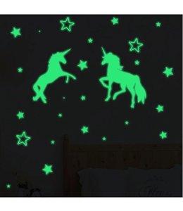 Muursticker glow in the dark eenhoorns met sterren