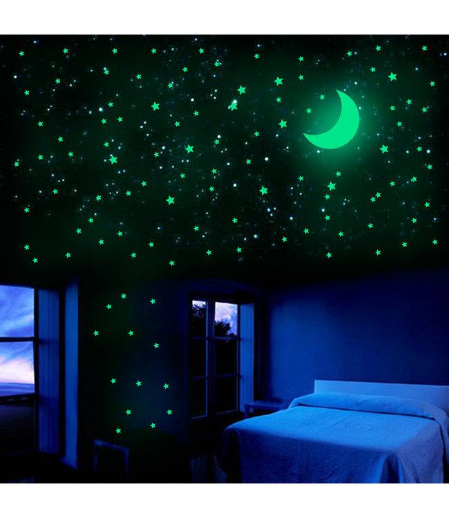 Muursticker glow in the dark halve maan en sterren XL