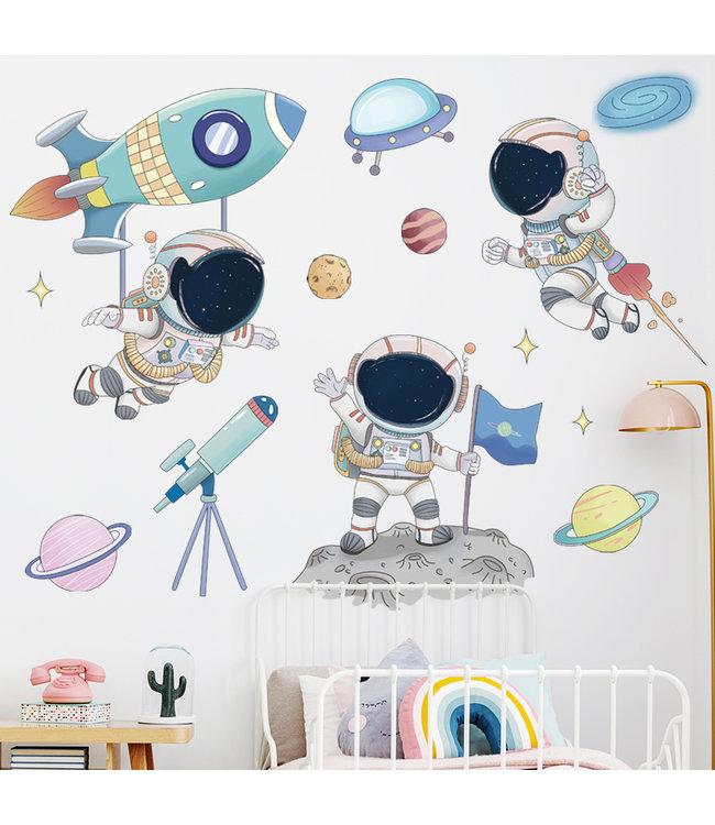 Muursticker ruimte mannetjes met raketten en planeten