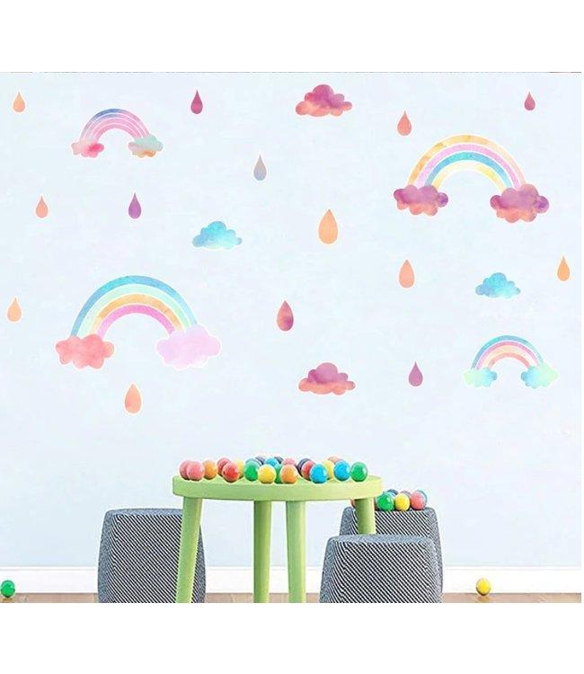 Muursticker regenboogjes met wolkjes