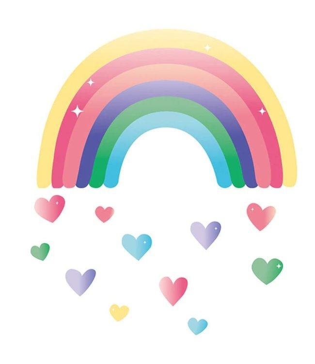 Muursticker regenboog met hartjes