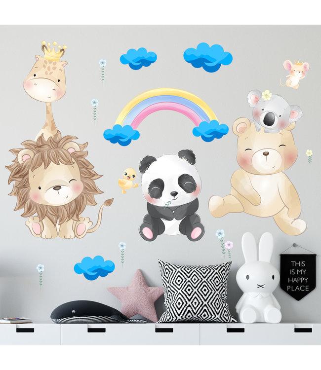 Muursticker schattige diertjes met wolkjes en regenboog