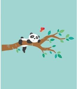Muursticker lieve pandabeer op tak
