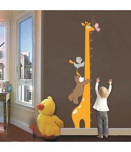 Muursticker groeimeter giraffe met beertje en vogeltje