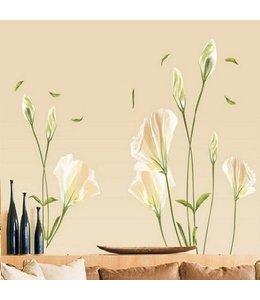 Muursticker mooie witte bloemen