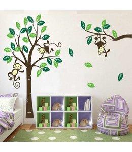 Muursticker boom met aapjes groen