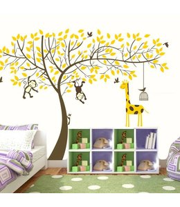 Muursticker boom met aapjes en giraffe