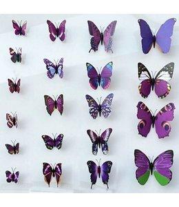 3D vlinders paars meerkleurig