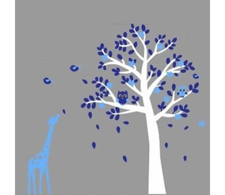 Muursticker Witte Boom.Muursticker Witte Boom Met Uiltjes En Giraffe Blauw