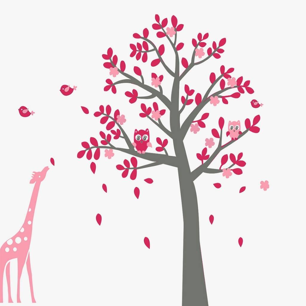 Boom Met Uil Babykamer.Muursticker Grijze Boom Met Uiltjes En Giraffe Roze Kinderkamer