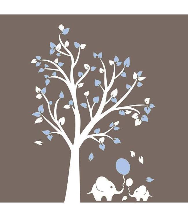 Muursticker Witte Boom.Muursticker Witte Boom Met Licht Blauwe Blaadjes En Olifantjes