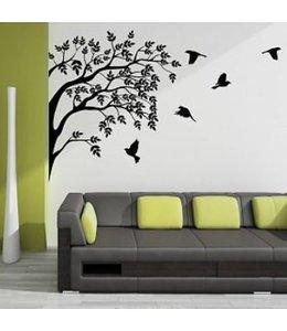 Muursticker mooie boom met vogels