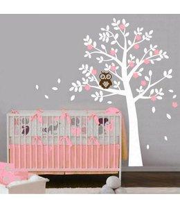 Muursticker boom met uil roze