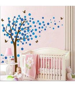 Muursticker bloesemboom XL blauw