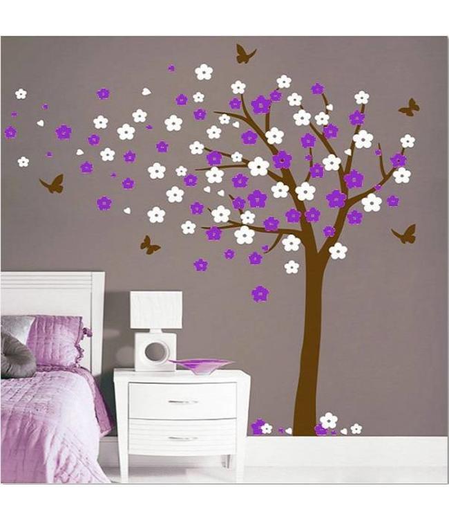 Muursticker bloesemboom XL paars-wit