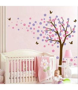 Muursticker bloesemboom XL paars - roze