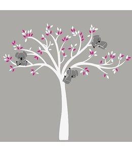 Muursticker witte boom met drie slapende koala beertjes fuchsia