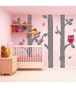Muursticker boomstammen met uiltjes grijs roze