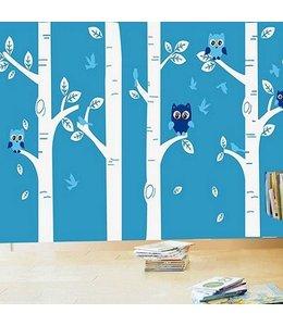 Muursticker Boomstammen met uiltjes wit blauw