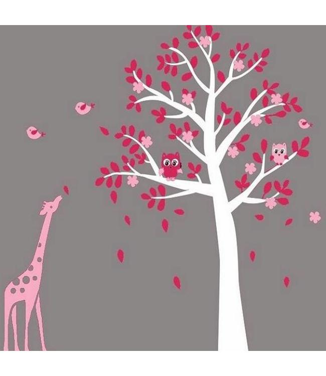 Muursticker Giraffe Kinderkamer.Muursticker Witte Boom Met Uiltjes En Giraffe Roze Kinderkamer