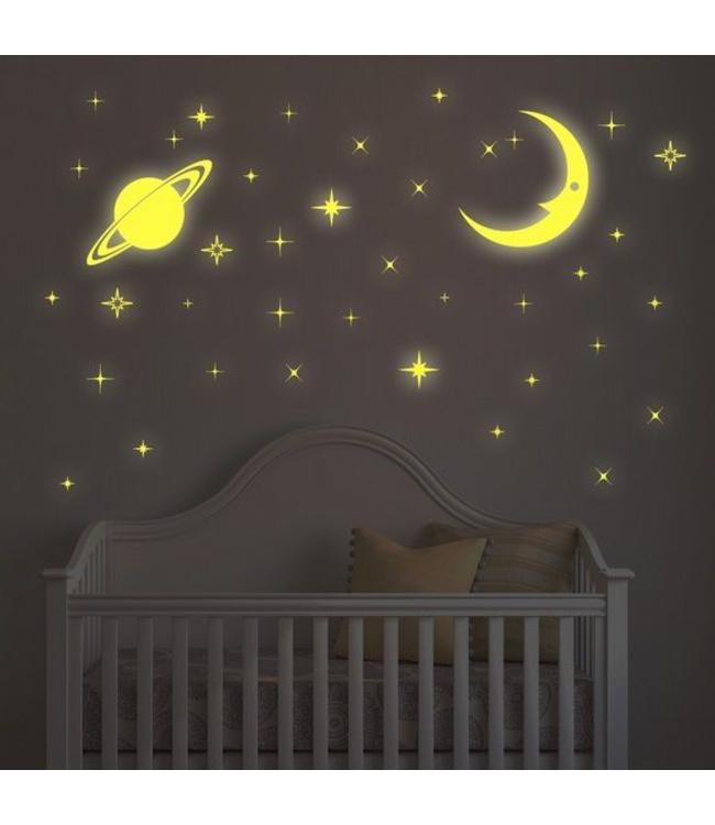 Muursticker Sterren Babykamer.Muursticker Glow In The Dark Maan Sterren En Planeet Muurstickers