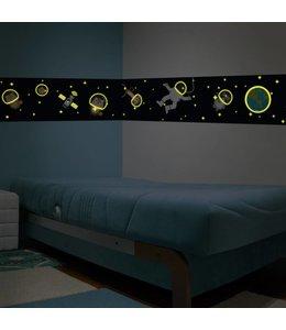 Muursticker glow in the dark ruimte diertjes