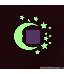 Muursticker glow in the dark maan sterren