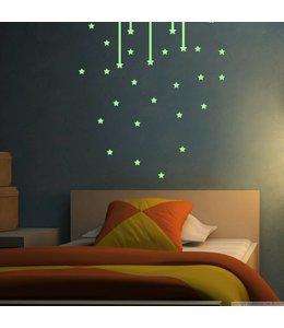 Muursticker glow in the dark sterren versie 3