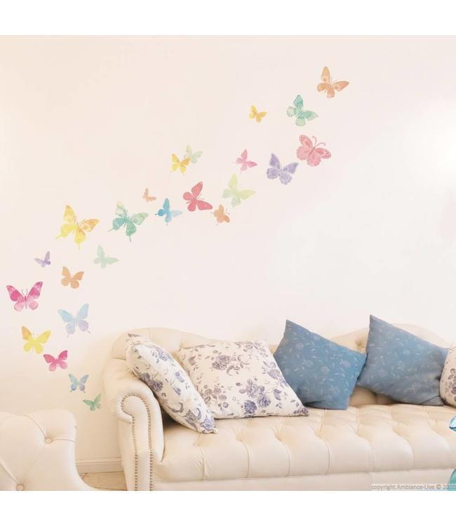Vlinder Decoratie Babykamer.Muursticker Mooie Gekleurde Vlinders Kinderkamer Babykamer