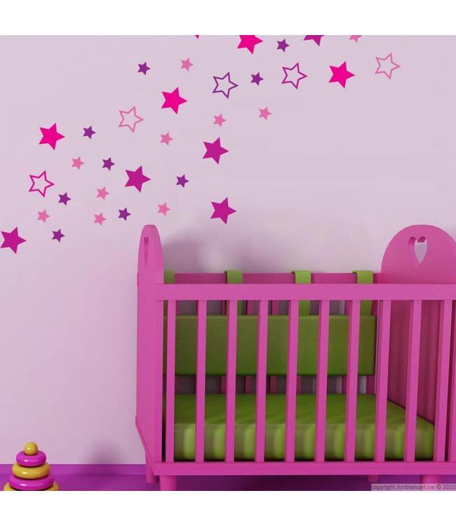 Muursticker sterren roze paars