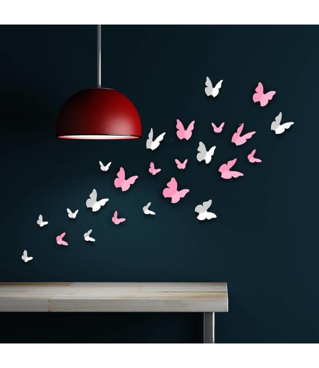 3D vlinders roze - wit