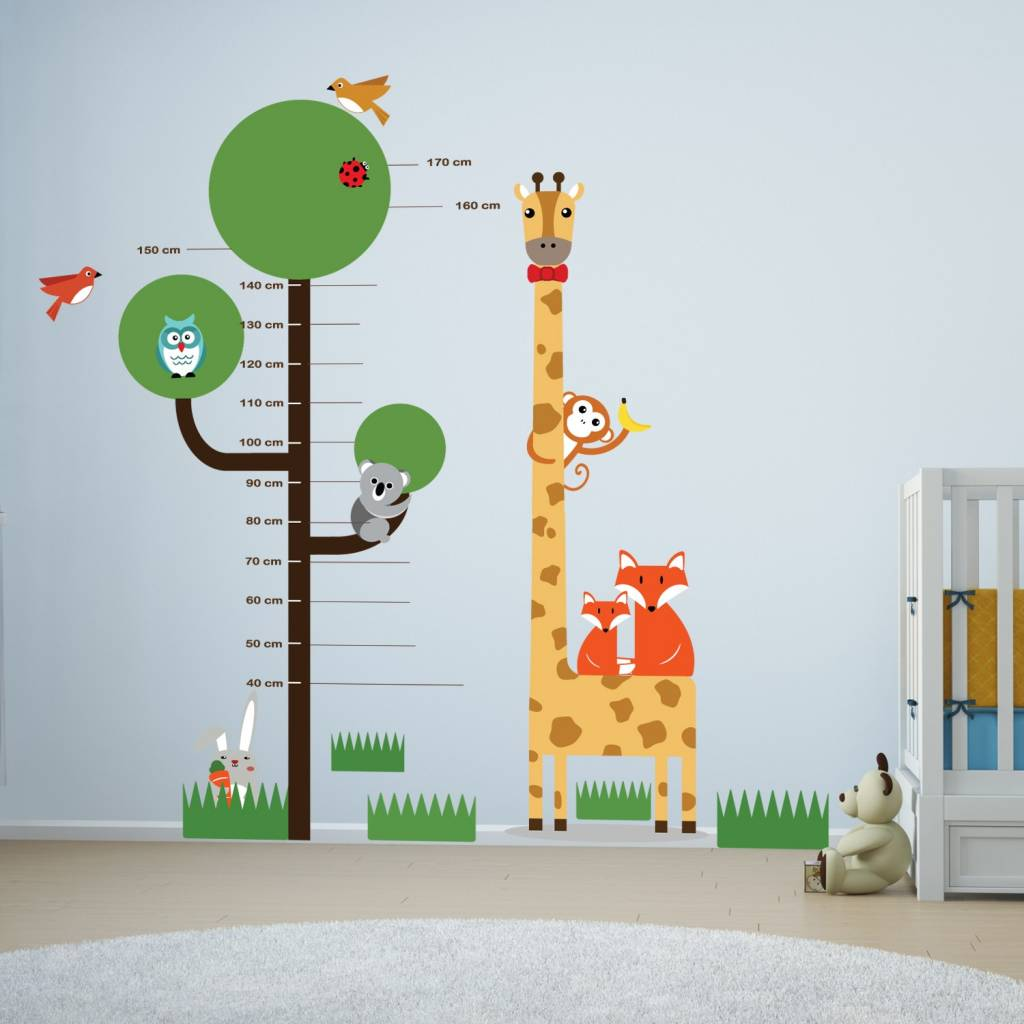 Muursticker Giraffe Kinderkamer.Muursticker Groeimeter Boom Met Giraffe En Andere Diertjes