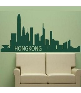 Muursticker skyline Hongkong