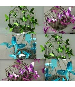 3D vlinders spiegel effect paars, blauw of groen