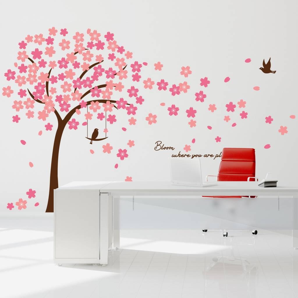 Roze Muurdecoratie Kinderkamer.Muursticker Mooie Bloesem Boom Roze Muursticker Babykamer