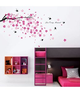 Muursticker mooie tak roze