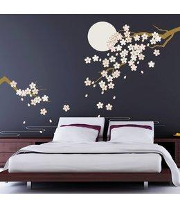 Muursticker mooie tak kersen bloesem bij maanlicht
