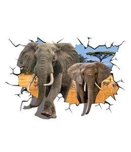 Muursticker olifanten lopen door de muur
