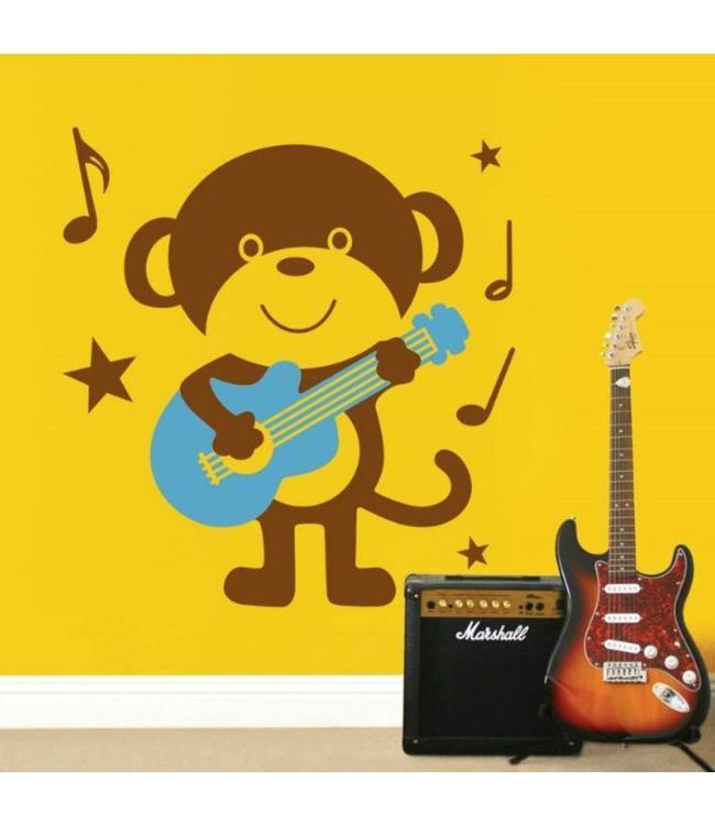 Muursticker aap met gitaar