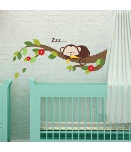 Muursticker lief aapje op tak