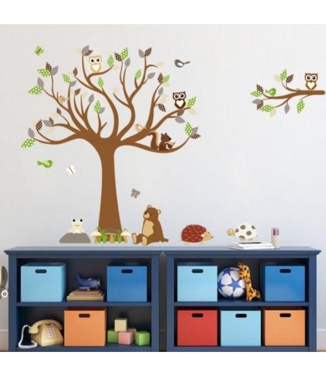 Muursticker boom met uiltjes beer en andere diertjes