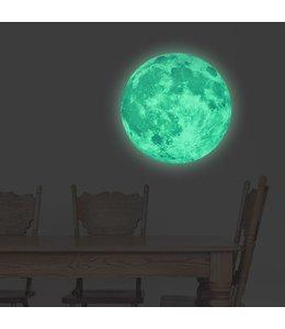 Muursticker glow in the dark maan 40 x 40 cm