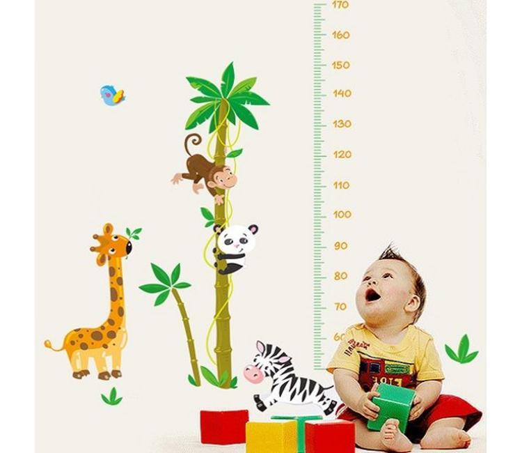 Muursticker groeimeter jungle dieren